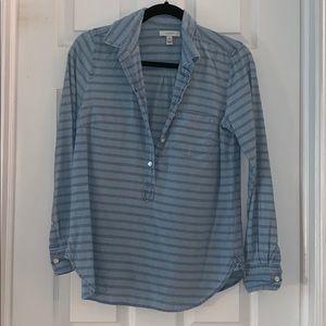 Button down chambray striped shirt